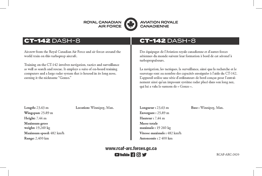 CT-142 Dash-8 fact sheet details