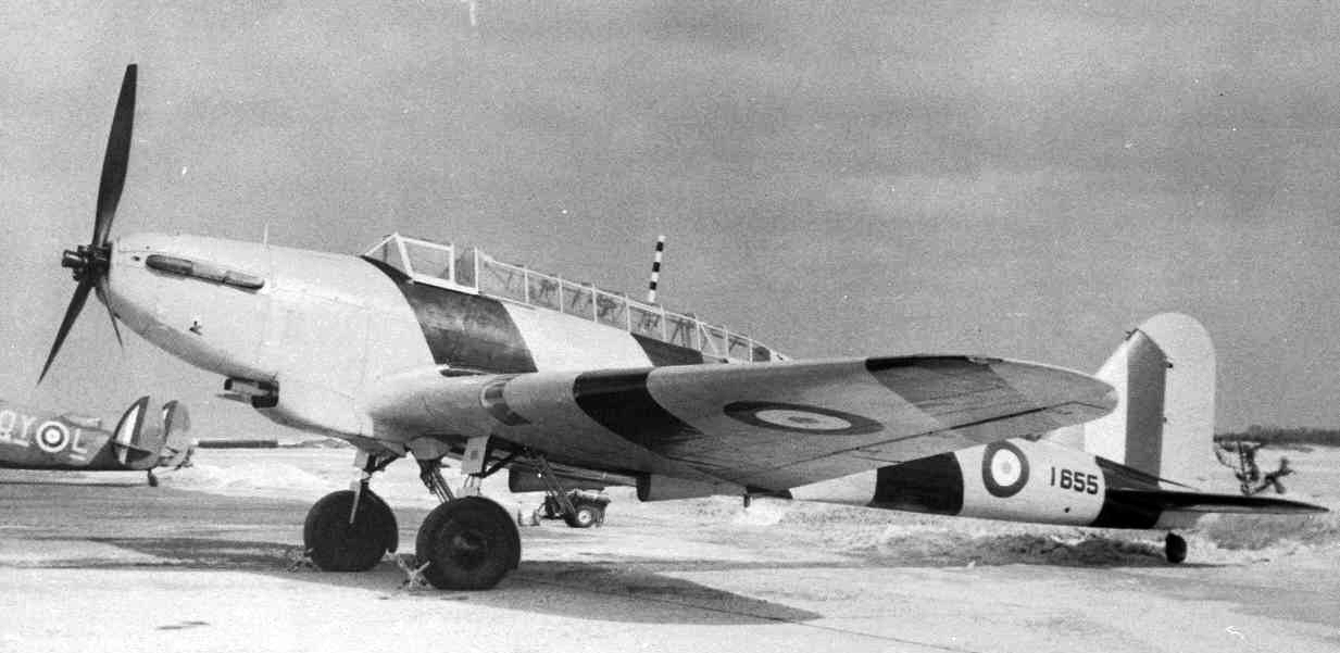 A Fairey Battle aircraft—in this case a colourfully marked target towing aircraft with yellow and black stripes. PHOTO: Courtesy Comox Air Force Museum