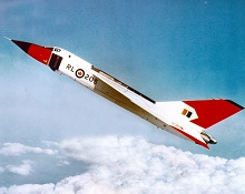 The Avro CF-105 Arrow in flight. PHOTO: DND Archives, PMRC 82 384