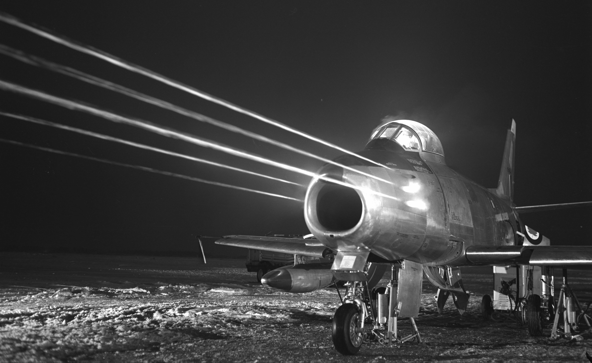 An F-86 Sabre tests its guns. PHOTO: DND Archives, PL-55764