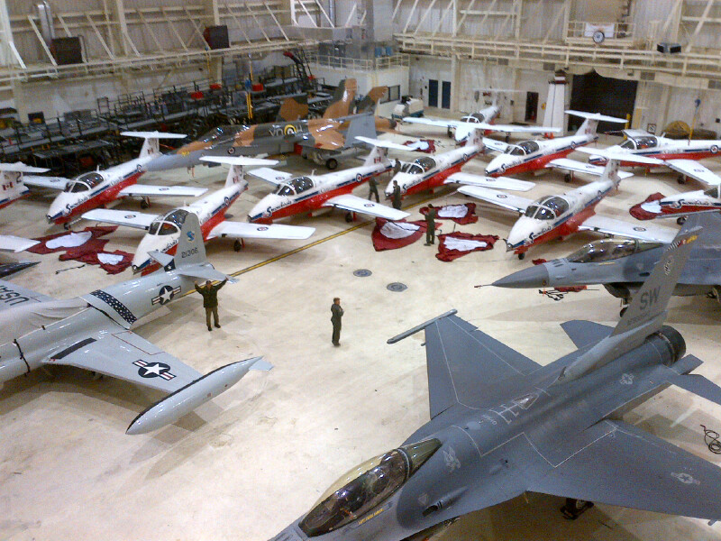 Aircraft are safely parked inside a hangar due to severe weather after the Rhode Island Airshow in North Kingstown, Rhode Island, USA, on Sunday May 31, 2015