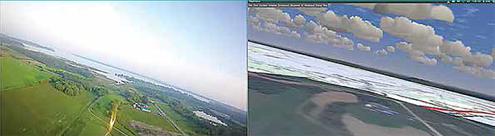 Figure 10 consists of two images. On the left is a natural view from the cockpit of the sky and the landscape as the aircraft is engaged in a sharp left roll. On the right is a simulated view of the same image. The clouds and the blue sky are more defined in the simulated view, but the landscape does not appear as focused as it is in the natural view, with no colour in the trees and fields. End Figure.