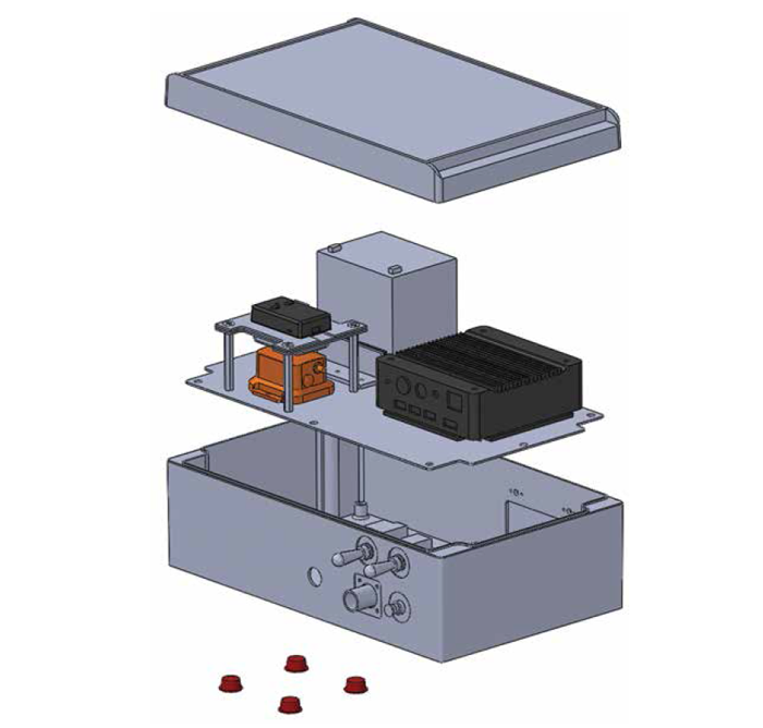 Figure 2 provides a three-dimensional view of the parts of the prototype, as they would appear if being removed from the casing they are housed in. The cover is raised off, with the inner workings described in Figure 1 shown in the central portion of the figure. The bottom portion of the casing includes the switches and connection inputs where the ground-based components (not shown in the figure) would connect to the inner hardware through the casing. End Figure 2.