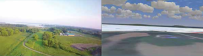 Figure 9 consists of two images. The one on the left is a natural view from the cockpit of the sky and landscape as the aircraft is engaged in a slight left roll. On the right is a simulated view of the same image. The clouds and the blue sky are more defined in the simulated view, but the landscape does not appear as focused as it is in the natural view with the colours of the trees and fields mostly grey and white. End Figure 9.