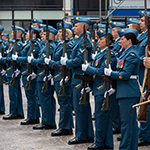 Having been granted Freedom of the City in Folkestone, UK, members of the Royal Canadian Air Force 2018 Public Duties contingent form up with bayonets fixed alongside members of The Great War Group on 4 July, 2018. PHOTO: MCpl Boucher