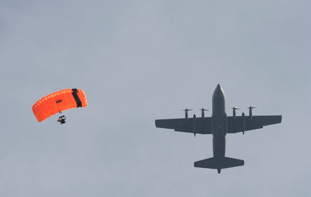 SAR Tech parchuting from CC130 aircraft