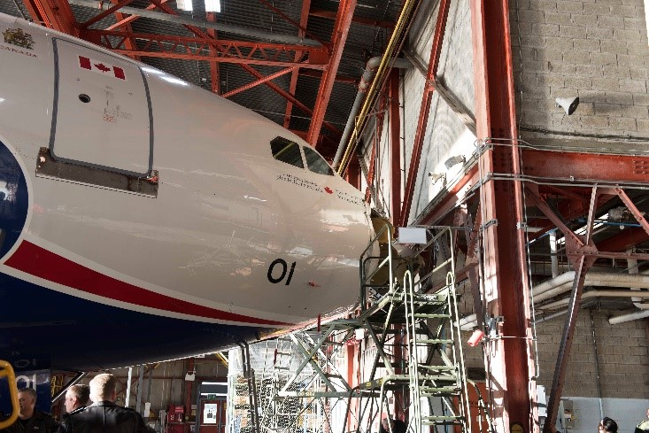Nose impact with hangar structure