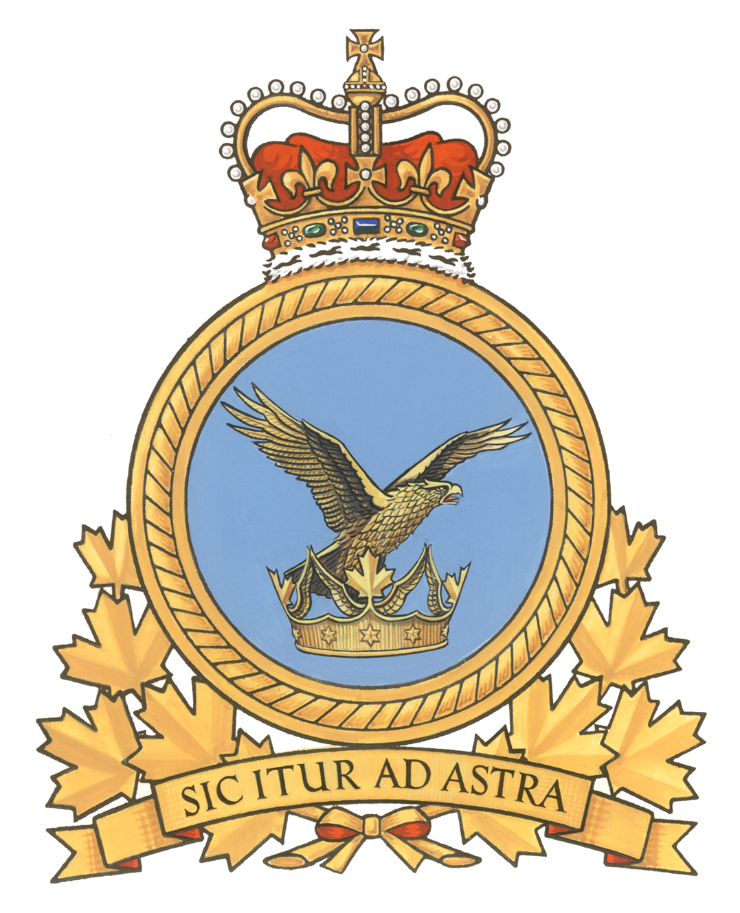 The Air Command badge, which has been replaced by the new RCAF badge, displayed an eagle volant, rising out of a Canadian astral crown. PHOTO: DND.