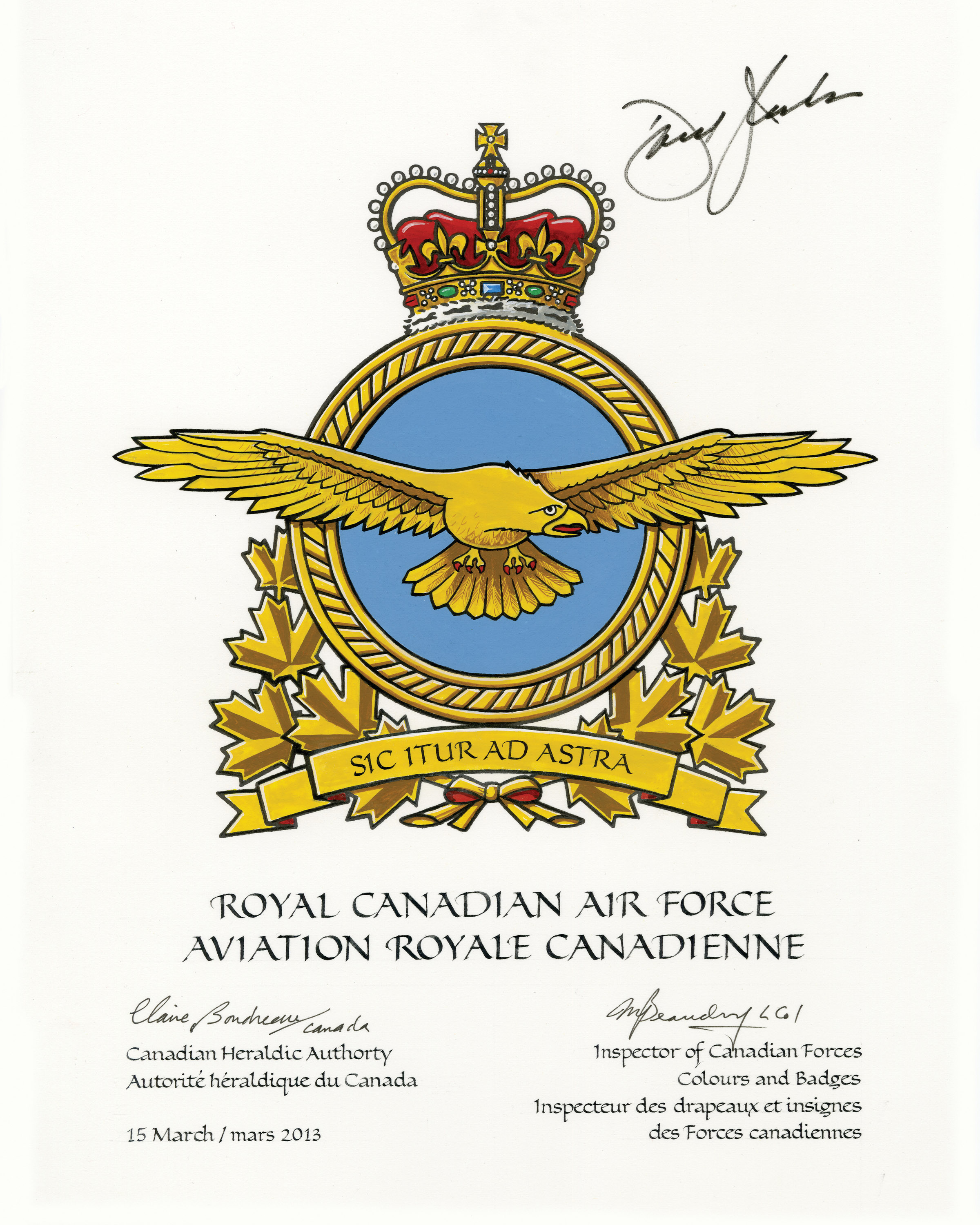 The new RCAF badge, approved and signed by Governor General David Johnston earlier this year, displays a golden eagle flying with wings outstretched. PHOTO: DND.