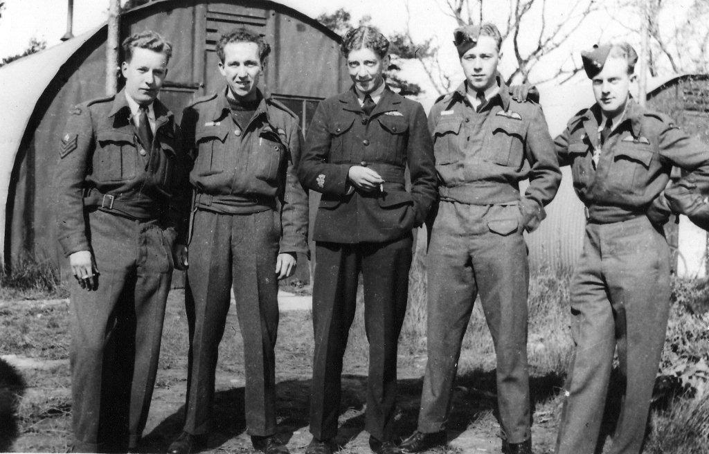 Flight Lieutenant Colton (second from the right) in early 1944 in the United Kingdom. PHOTO: Courtesy John Colton.
