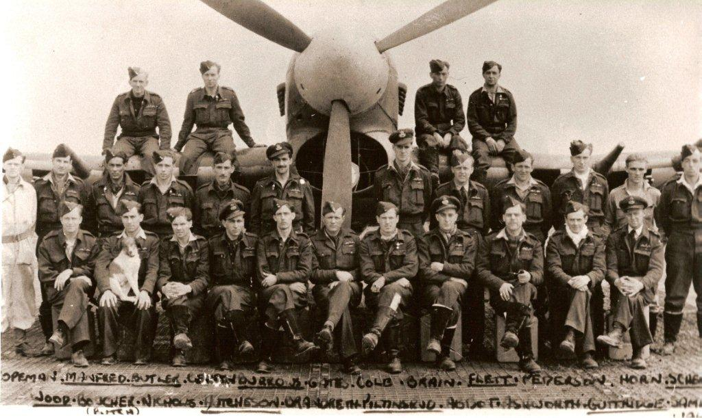 Members of 137 Squadron in Normandy in August 1944. Flight Lieutenant Colton is in the middle row, fourth from the left; his friend, Pilot Officer James Shemeld, who was killed on December 31, 1944, is on the extreme right. PHOTO: Courtesy John Colton.