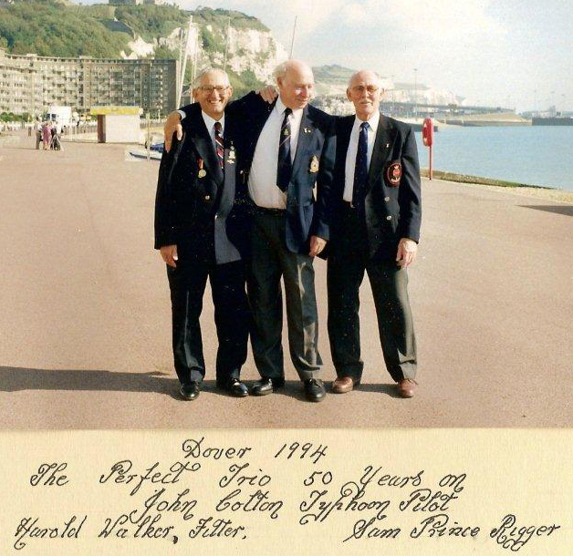 """The perfect trio, 50 years on"" – Flight Lieutenant Colton in Dover, England, in 1994 with his mechanics, John Walker (fitter) and Sam Prince (rigger). PHOTO: Courtesy John Colton."