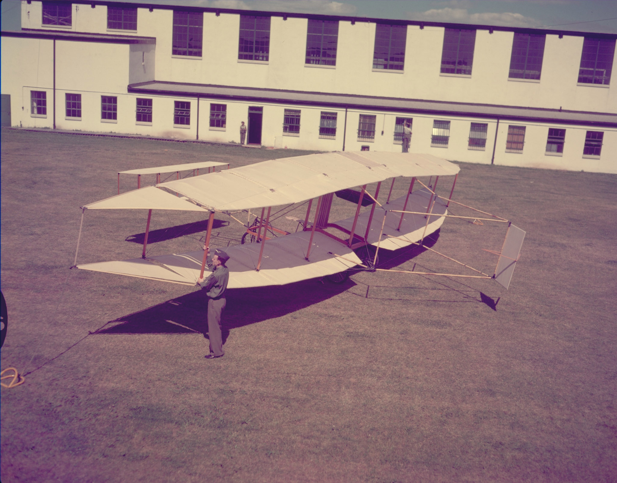 A replica of the Silver Dart aircraft under construction at RCAF Station Trenton, Ontario, in 1958. PHOTO: PC-2284, DND Archives