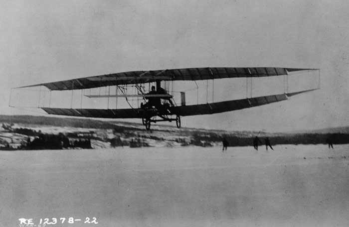 The Silver Dart, built by the Aerial Experimental Association, with Douglas McCurdy at the controls, on February 23, 1909.