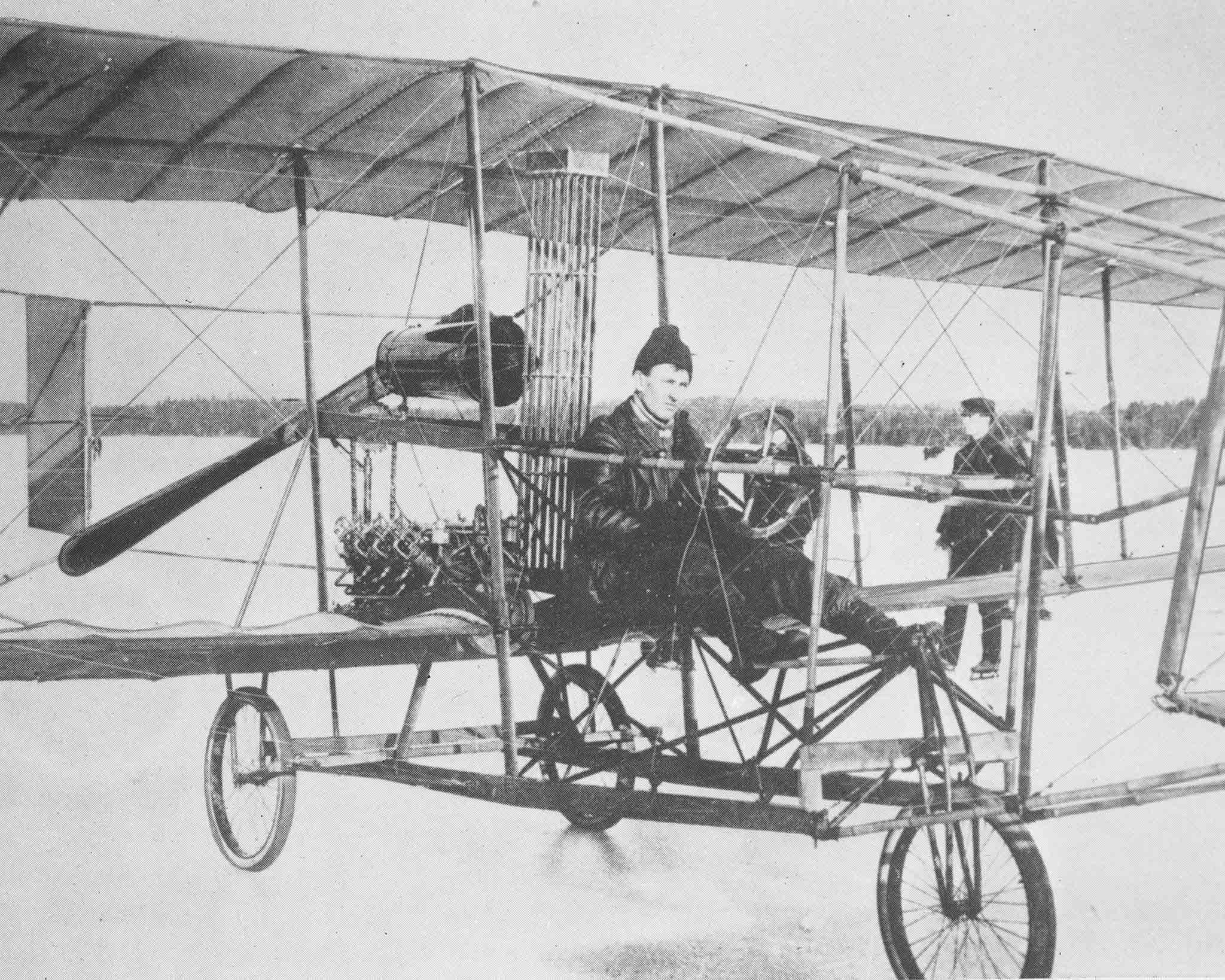 The Silver Dart, built by the Aerial Experimental Association, with Douglas McCurdy at the controls, on February 23, 1909. PHOTO: RE74-217, DND archives