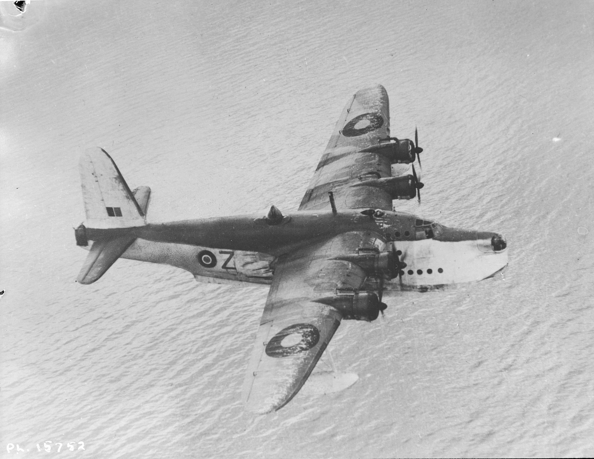 The Shorts Sunderland was one of Coastal Command's strongest striking forces in the war against U- Boats and was widely famed for its long-range patrol work. This photo of an RCAF 442 Squadron Short Sunderland was taken on April 15, 1943. Although no Sunderlands were officially on strength with the RCAF, 442 and 423 Squadrons of the RCAF were equipped with the aircraft. PHOTO: DND Archives, PL-15752