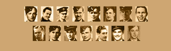 A composite image of the 14 Canadians killed (and one taken prisoner) during the raid/ Left to right, top row: Warrant Officer Class 2 James L. Arthur; Warrant Officer Class 2 Joseph G. Brady; Sergeant Charles Brennan; Pilot Officer Lewis J. Burpee; Sergeant Vernon W. Byers; Sergeant Alden Preston Cottam; Flying Officer Kenneth Earnshaw; Pilot Officer John W. Fraser (survived and taken prisoner of war). Bottom row: Sergeant Francis A. Garbas; Sergeant Abram Garshowitz; Flying Officer Harvey S. Glinz; Flying Officer Vincent S. MacCausland; Sergeant James McDowell; Flying Officer Robert A. Urquhart; and Pilot Officer Floyd A. Wile. PHOTO: Bomber Command Museum of Canada
