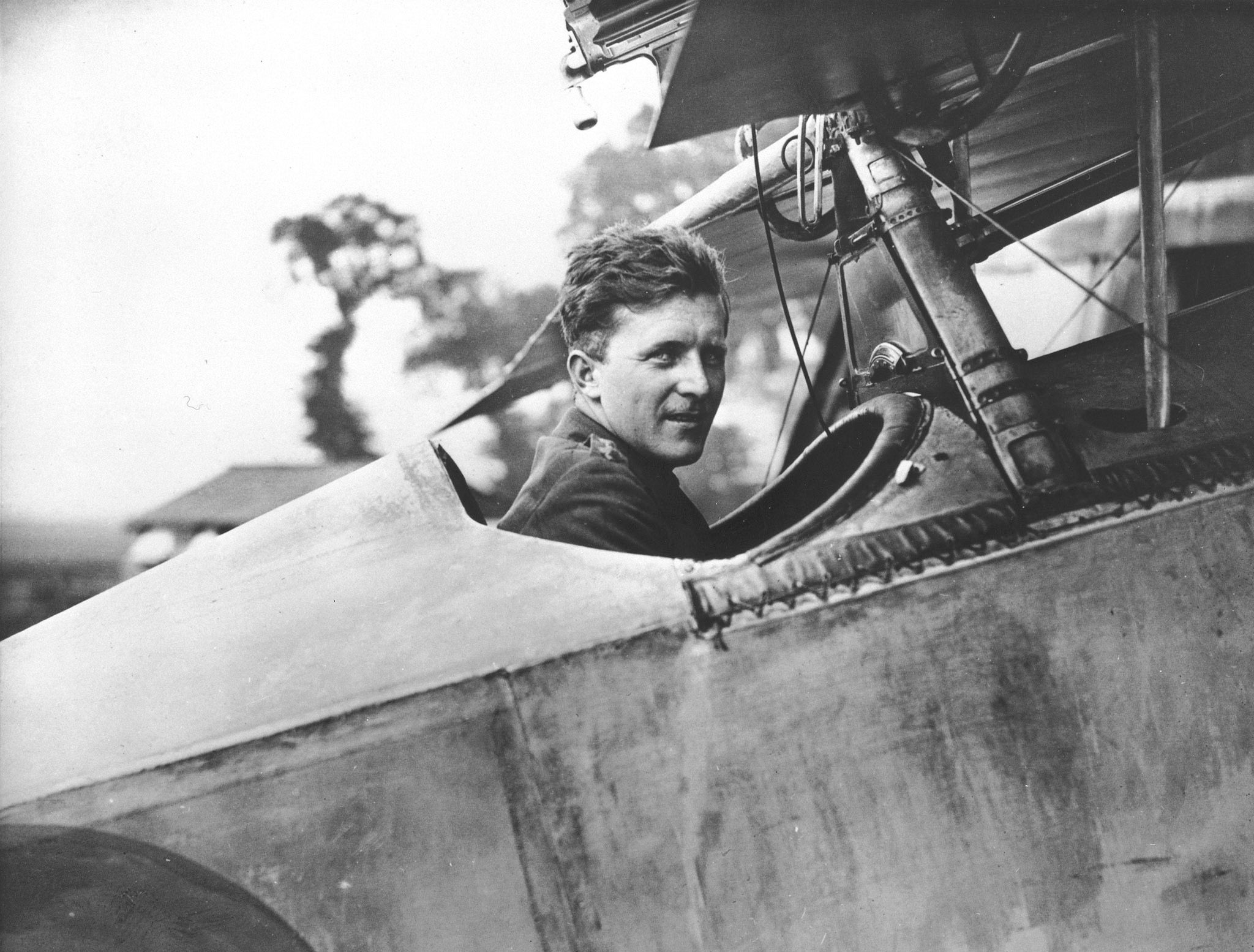 Captain William A. Bishop, seated in the cockpit of his Nieuport Scout, on August 6, 1917, while he was with No. 60 Squadron of the Royal Flying Corps. PHOTO: DND Archives, AH-407A