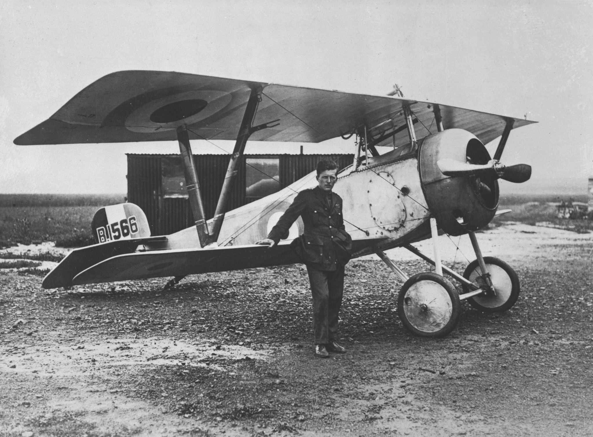 Captain William A. Bishop stands beside his Nieuport Scout, which he flew while with No. 60 Squadron, on August 6, 1917. PHOTO: DND Archives, AH-504