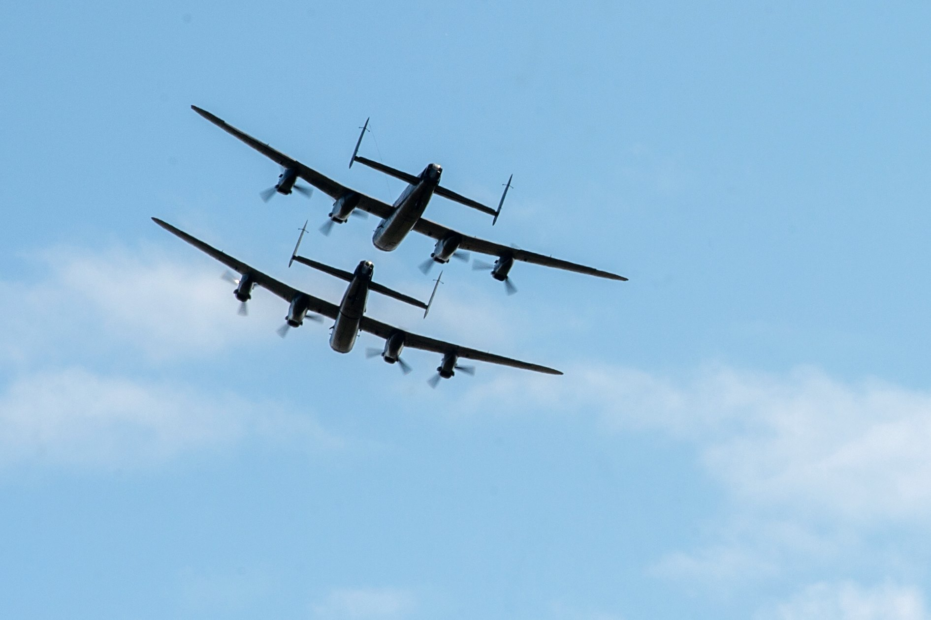 The Canadian and British Lancasters take to the skies on August 14, 2014 – the first time two Lancasters had flown together in more than 50 years. PHOTO: MoD Crown Copyright 2014