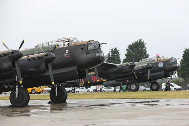 "Together again. Lancasters ""Thumper"" (foreground) and ""Vera"" at RAF Coningsby. PHOTO: Squadron Leader Wayne Palmer, MoD Crown Copyright 2014"