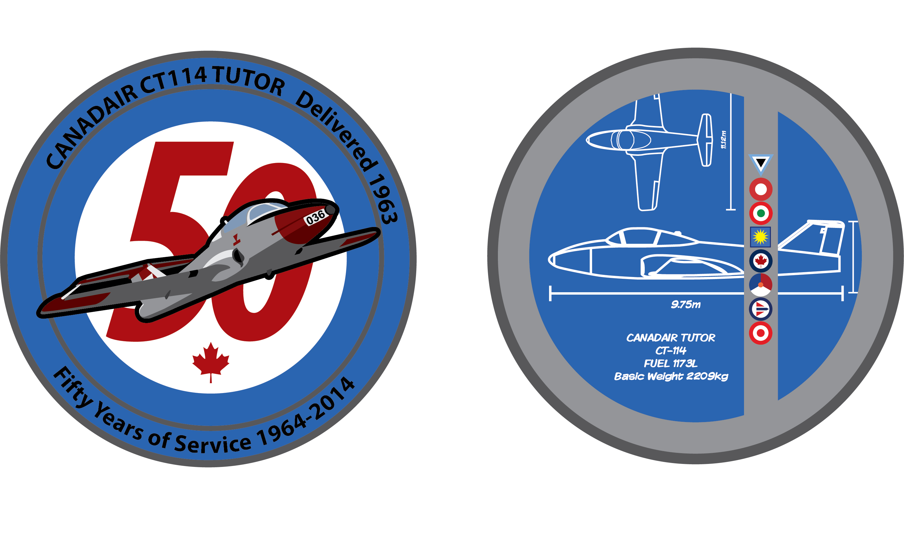 The CT-114 Tutor 50th commemorative coin as pictured in blueprint sketches. PHOTO: Mike Leudey