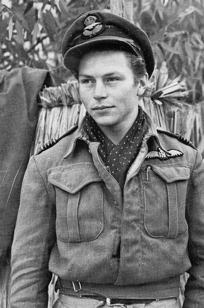 "Flight Lieutenant James ""Eddie"" Edwards, photographed near Castel Benito aerodrome outside of Tripoli, Libya, in January 1943, while serving with the Desert Air Force in North Africa."