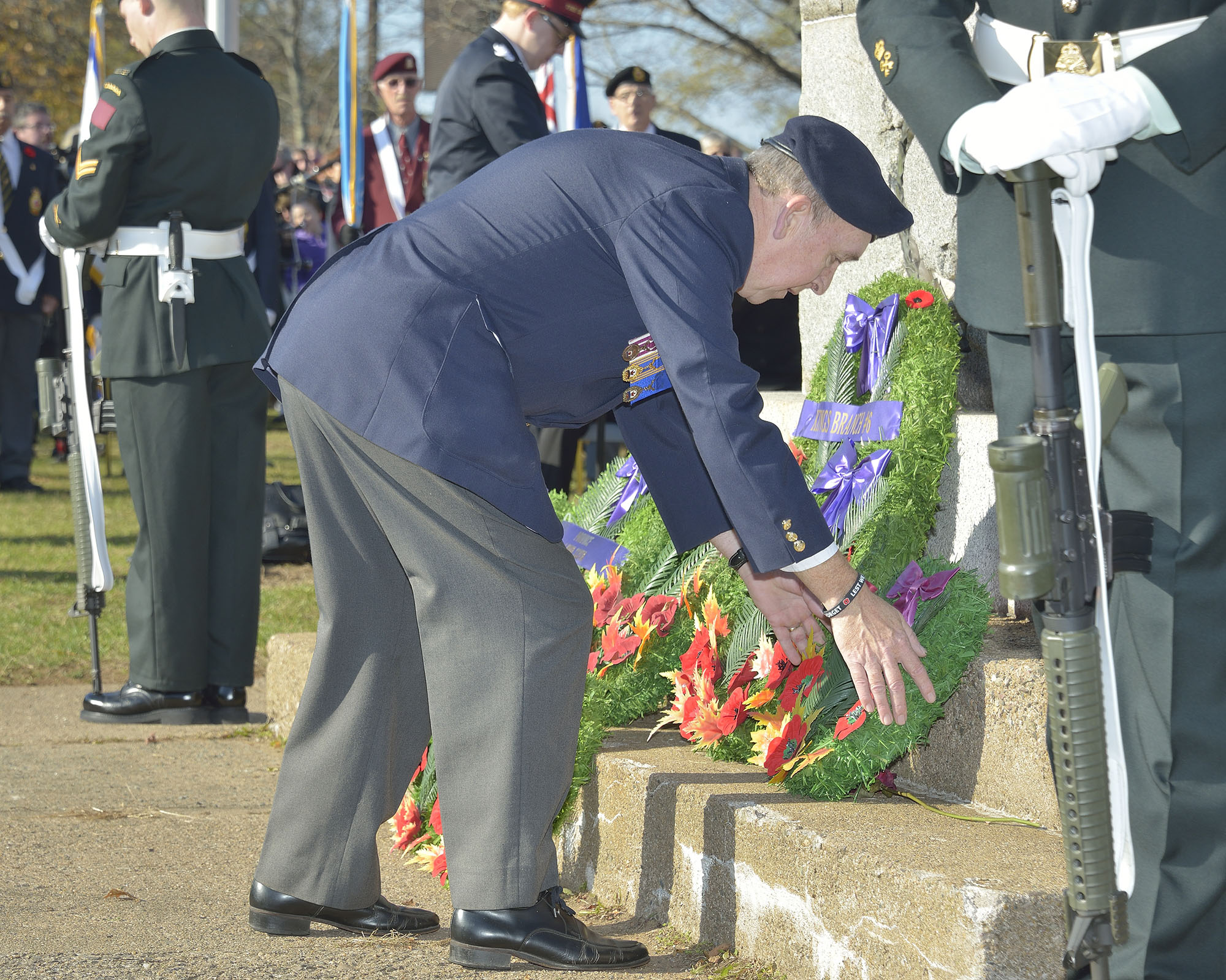 A Kentville, Nova Scotia, veteran and member of the Royal Canadian Legion lays a wreath during the Remembrance Day ceremony held at the Kentville cenotaph on November 11, 2014. PHOTO: Corporal Steve Wilson