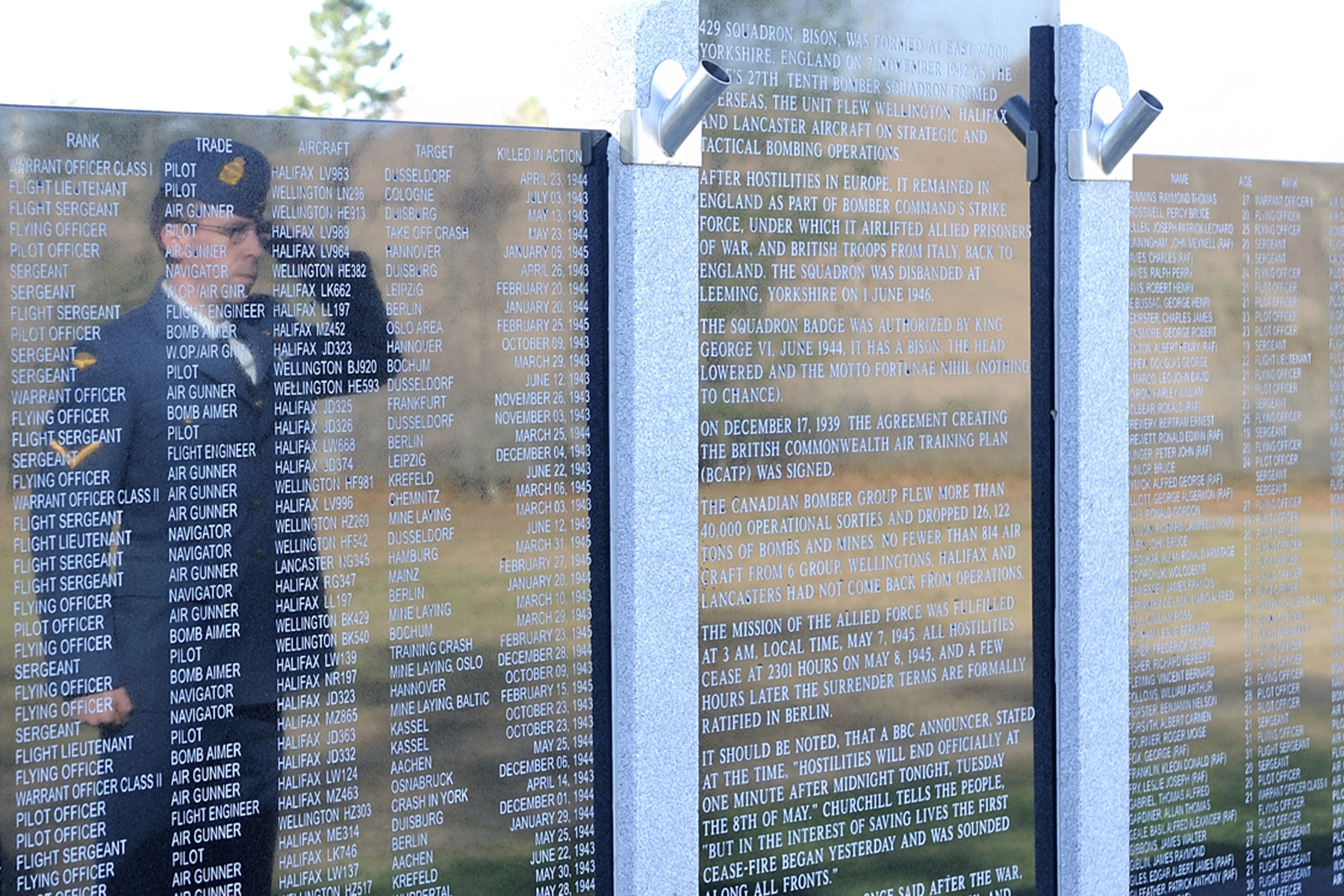 During the Middleton, Nova Scotia, Remembrance Day ceremony on November 11, 2014, a member of the Royal Canadian Air Force pays his respects at the monument bearing the names of personnel who lost their lives in flight training at Greenwood, Nova Scotia, during the Second World War. PHOTO: Corporal Gerald Cormier