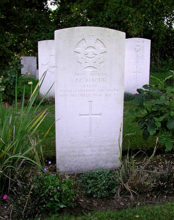 "Pilot Officer John Gillespie Magee, Jr.'s grave marker in Scopwick church cemetery, Lincolnshire, England. The inscription reads: ""Oh I have slipped the surly bonds of earth, Put out my hand and touched the face of God"". PHOTO: Canadian Virtual War Memorial website"