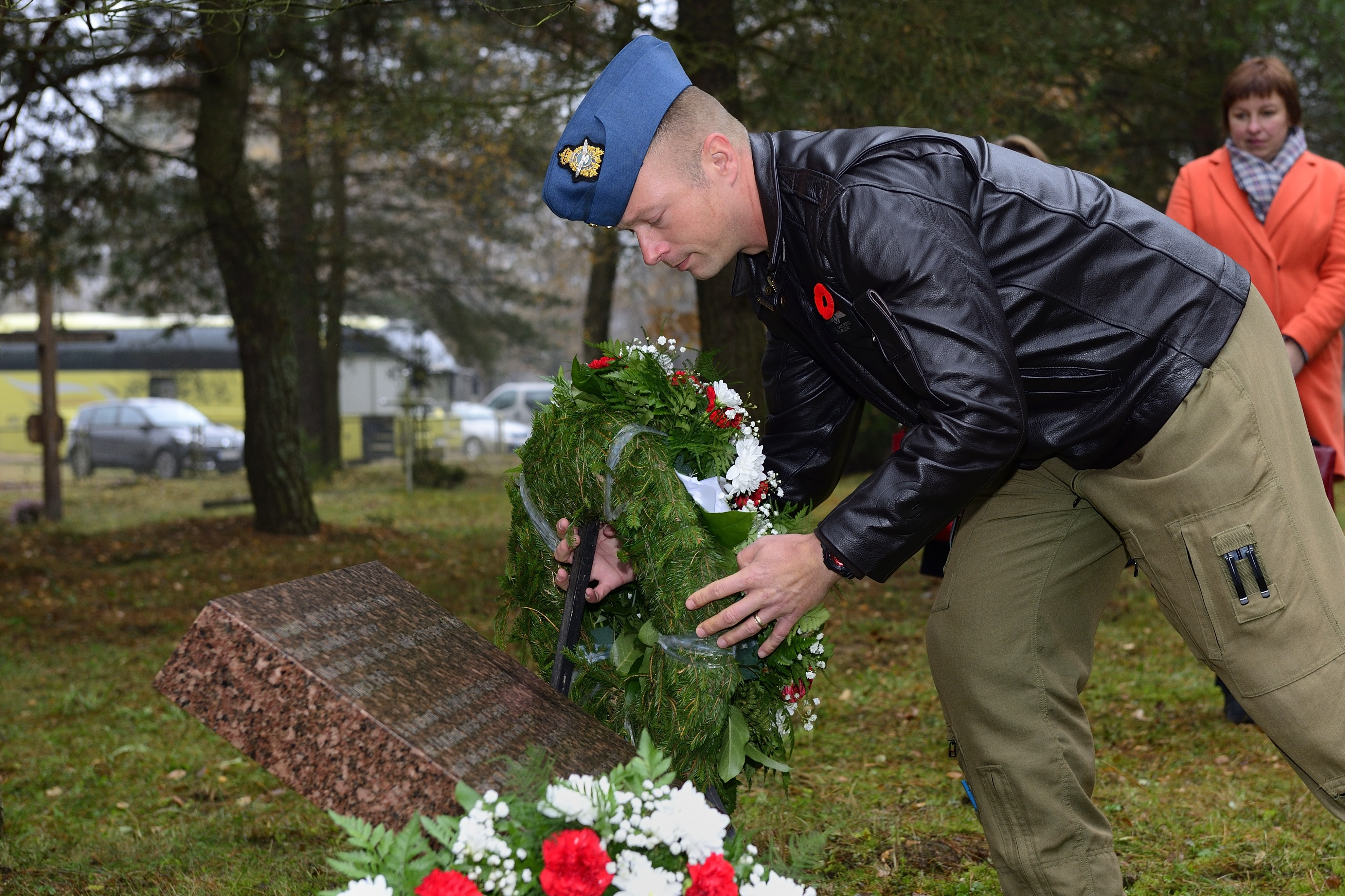 Lieutenant-Colonel David Pletz, the commander of Air Task Force-Lithuania, lays a wreath at a memorial commemorating Warrant Officer Class 1 Keith Oliver Perry, a member of the Royal Canadian Air Force who died at a nearby a prisoner of war camp in 1943. PHOTO: Air Task Force Lithuania