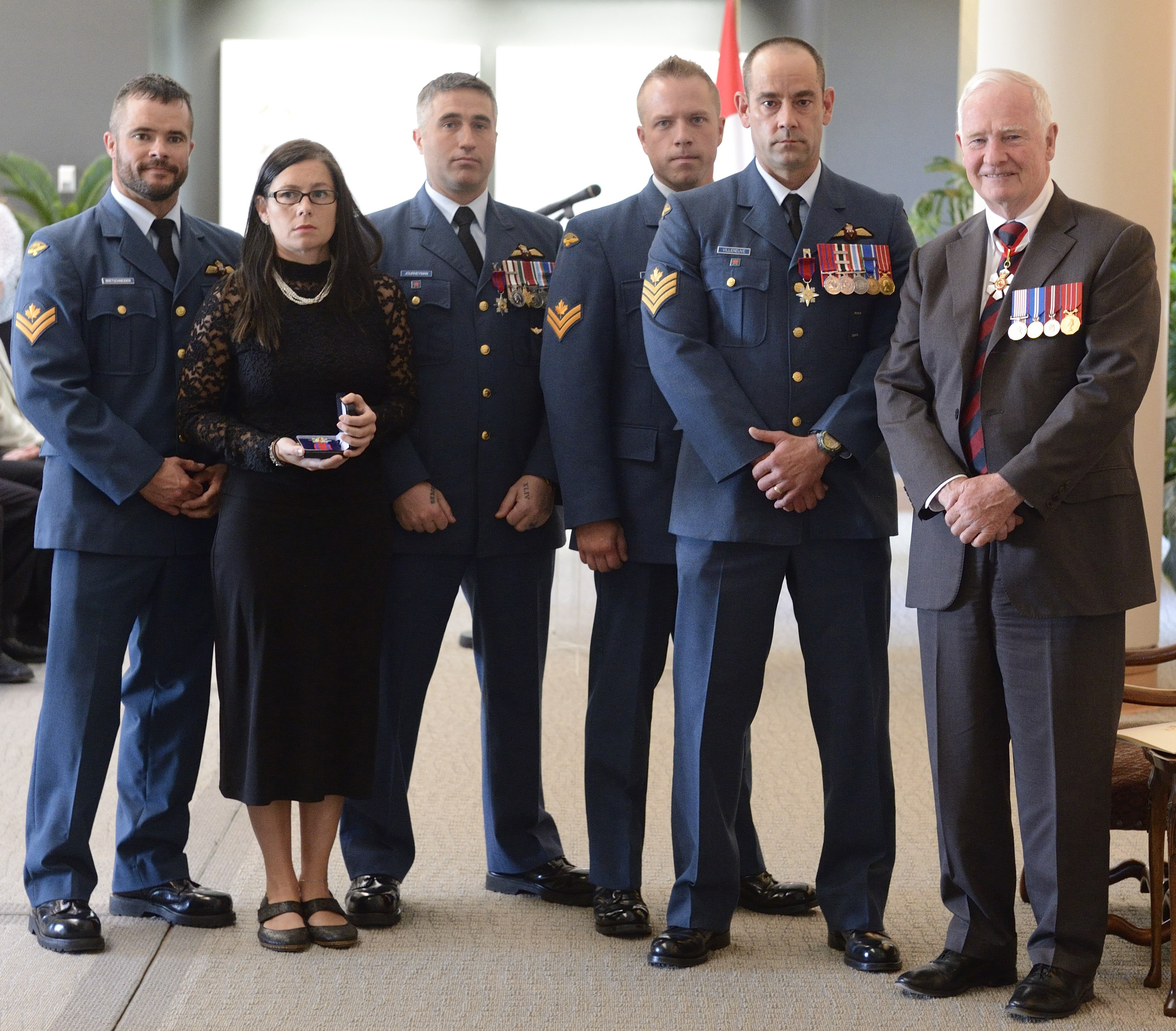 A Royal Canadian Air Force search and rescue team received the Star of Courage for a rescue in Nunavut in late 2011.