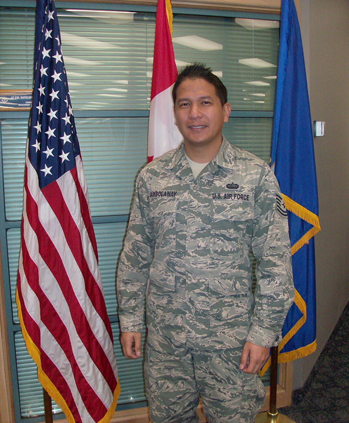 United States Air Force Technical Sergeant Benjamin R. Sambolanay, a Cyber Systems Operator Technician, works at 1 Canadian Air Division/Canadian NORAD Region in Winnipeg, Manitoba.