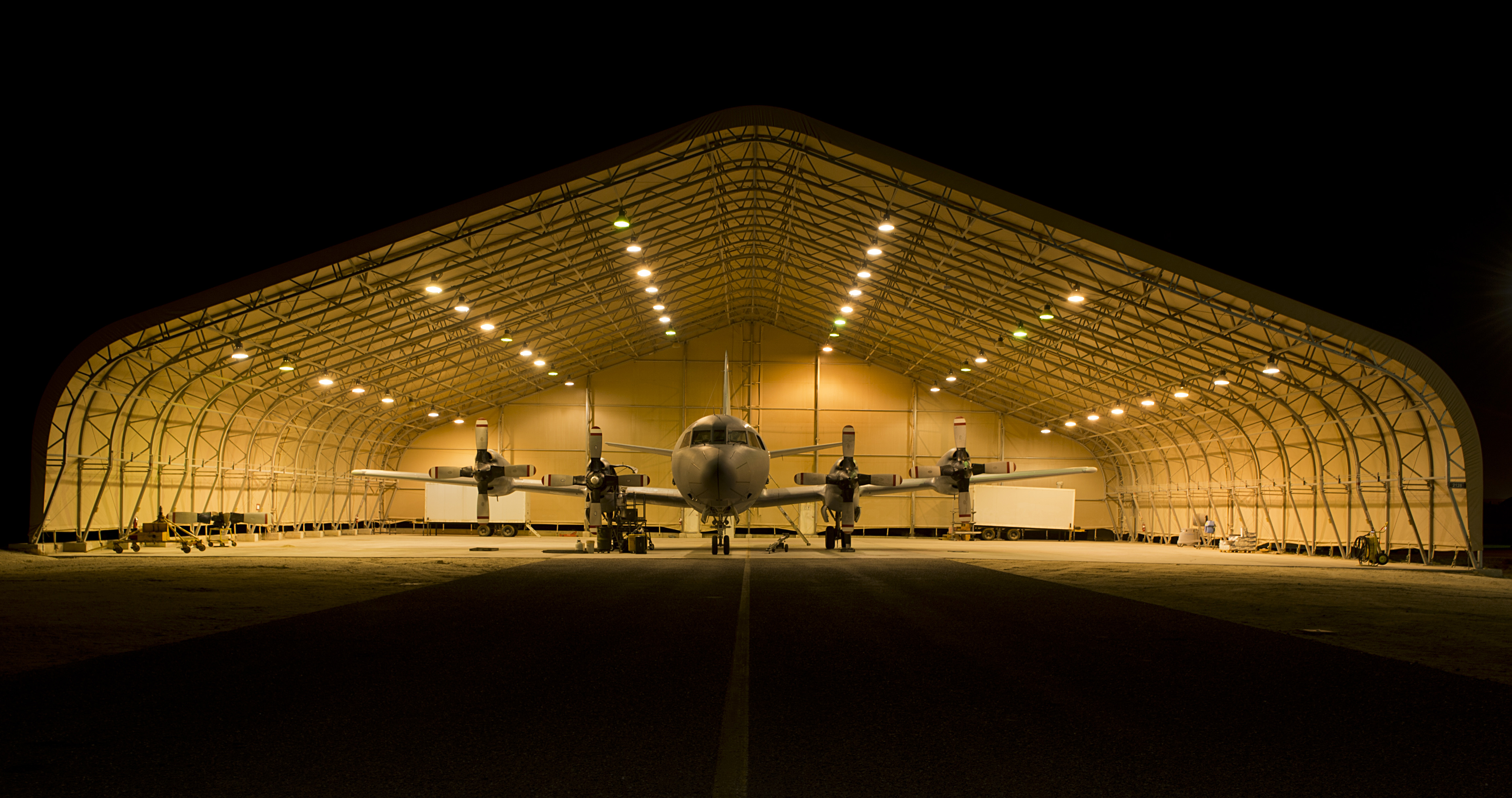 A Royal Canadian Air Force CP-140 Aurora aircraft awaits its next mission in Kuwait during Operation Impact.