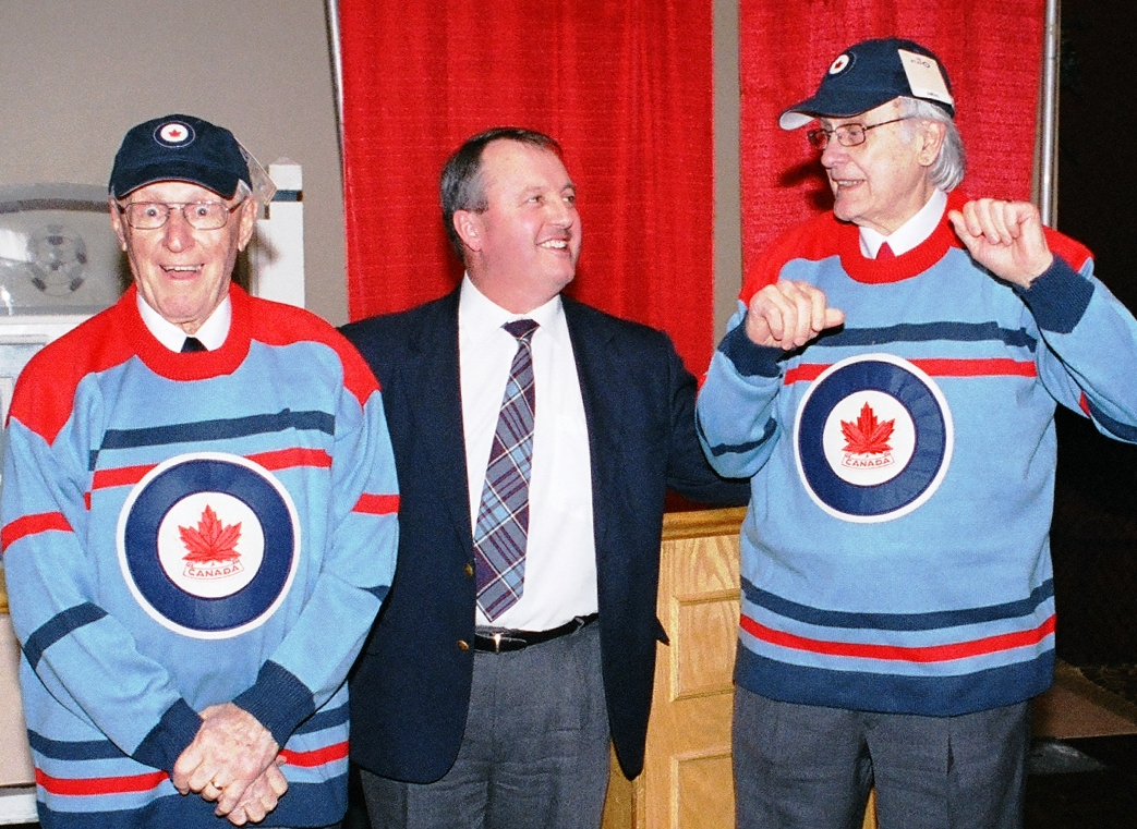 ... Former RCAF Flyers team mates Ab Renaud (left) and André LaPerrière  show off their ... 0965fbb0324