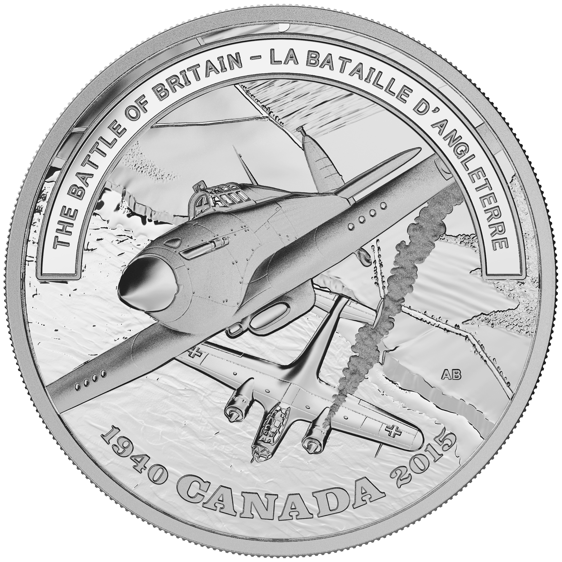A silver coin depicting a Canadian aviator's action in the Battle of Britain has been chosen by the Royal Canadian Mint to launch its Second World War Battlefront Series of coins.