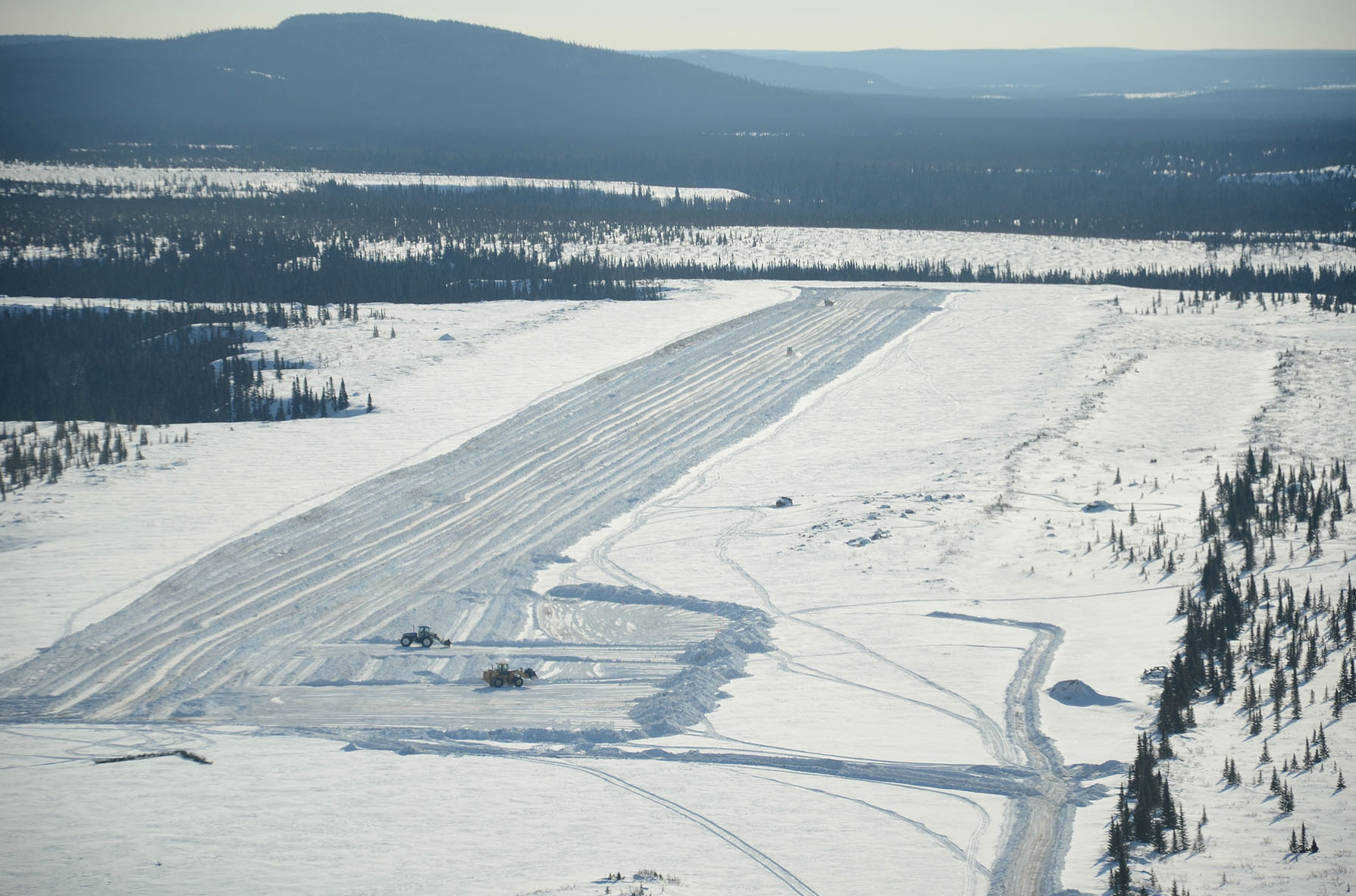 The Practice Training Area can be activated any time throughout the year for military training. The volume of snow cleared from the sand runway every winter makes urban snow removal seem insignificant. PHOTO: DND