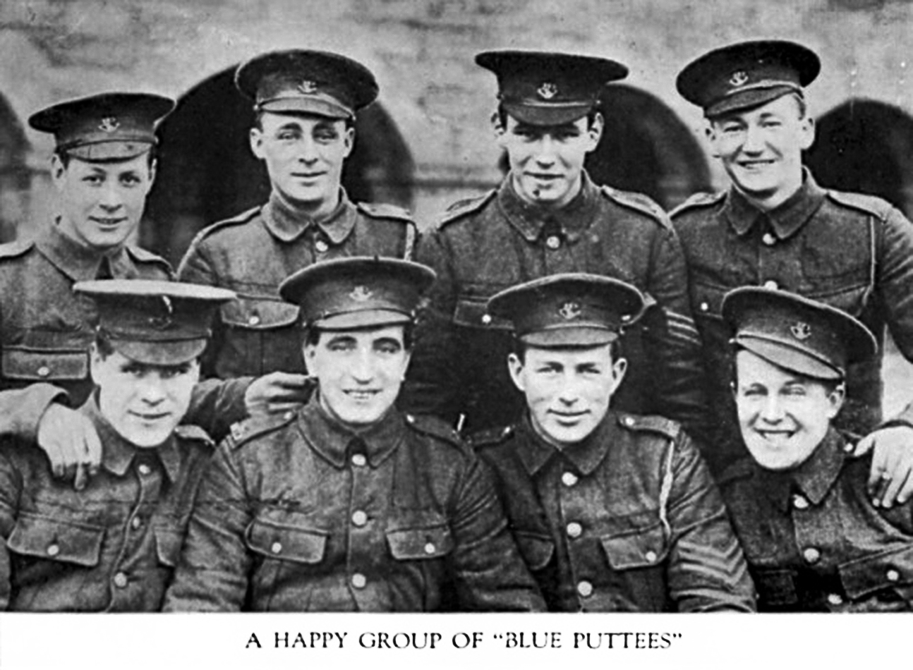 Eight members of the 1st Battalion, Royal Newfoundland Regiment, gather for a photo.