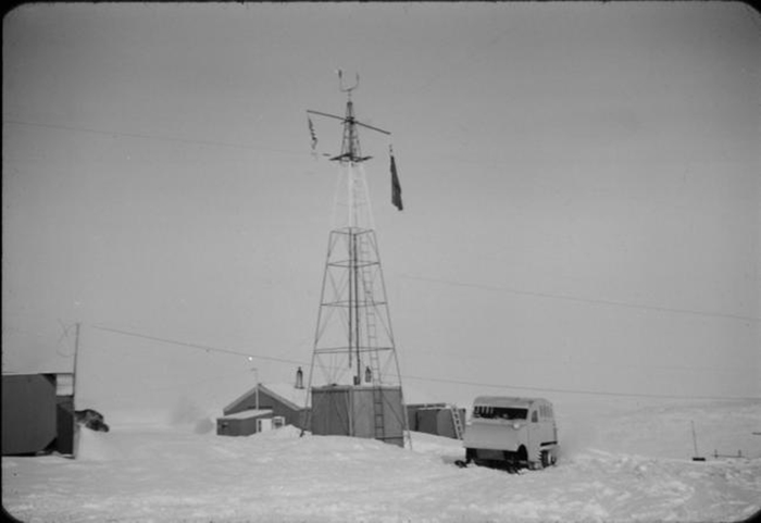 Canadian Forces Station Alert's state-of-the-art transmitter station circa 1958, on Ellesmere Island, Northwest Territories. Nunavut was severed from the Northwest Territories in 1999. PHOTO: DND