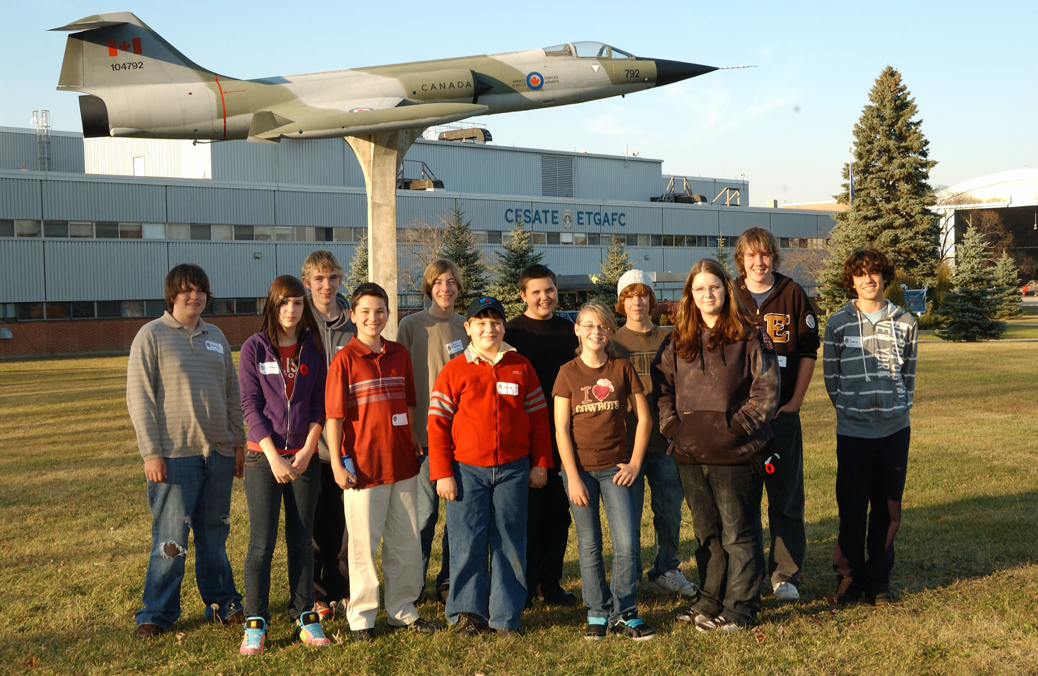 "On November 5, 2008, Canadian Forces School of Aerospace Technology and Engineering at 16 Wing Borden, Ontario, hosted 16 Grade 9 students on ""bring your kid to work day"". The students visited their parents' workplaces – and a perennial favourite, the CF-104 Starfighter aircraft on a stick. PHOTO: Sergeant Kev Parle"