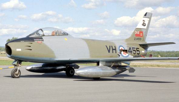 "This Mark VI, wearing the paint scheme of No. 444 ""Cobra"" Squadron, was transferred in April 1964 from the Royal Canadian Air Force to the Canada Aviation Museum, now the Canada Aviation and Space Museum (CASM), in Ottawa, Ontario. CASM has another Sabre 6, an aircraft of the RCAF's Golden Hawks aerobatic team still sporting the golden Hawks paint scheme. It is currently on loan to the Canadian Warplane Heritage Museum in Mount Hope, Ontario, for display. PHOTO: CASM"