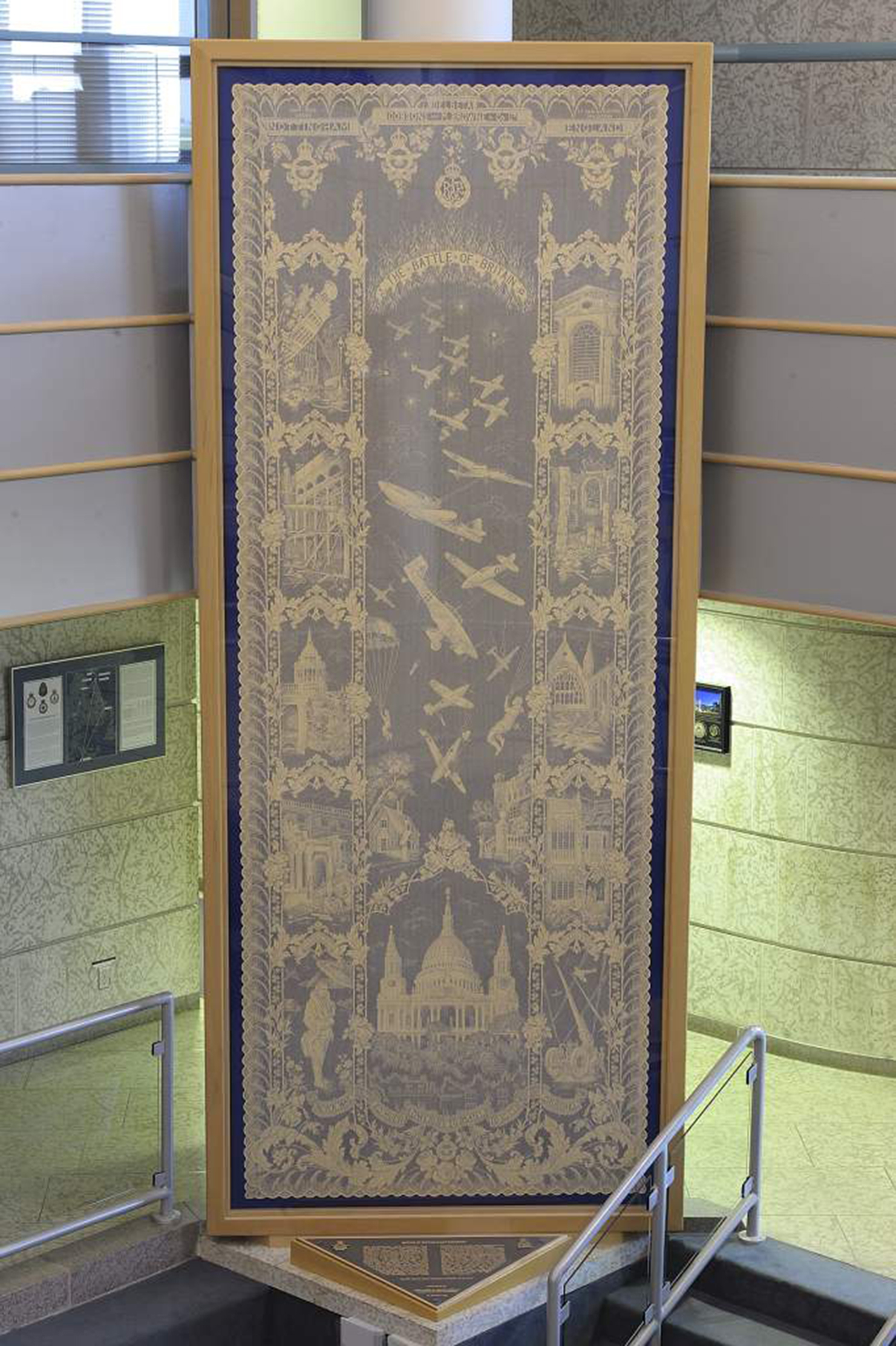The Battle of Britain Commemorative Lace Tapestry is on display at the Air Force Heritage Museum and Air Park in Winnipeg, Manitoba.
