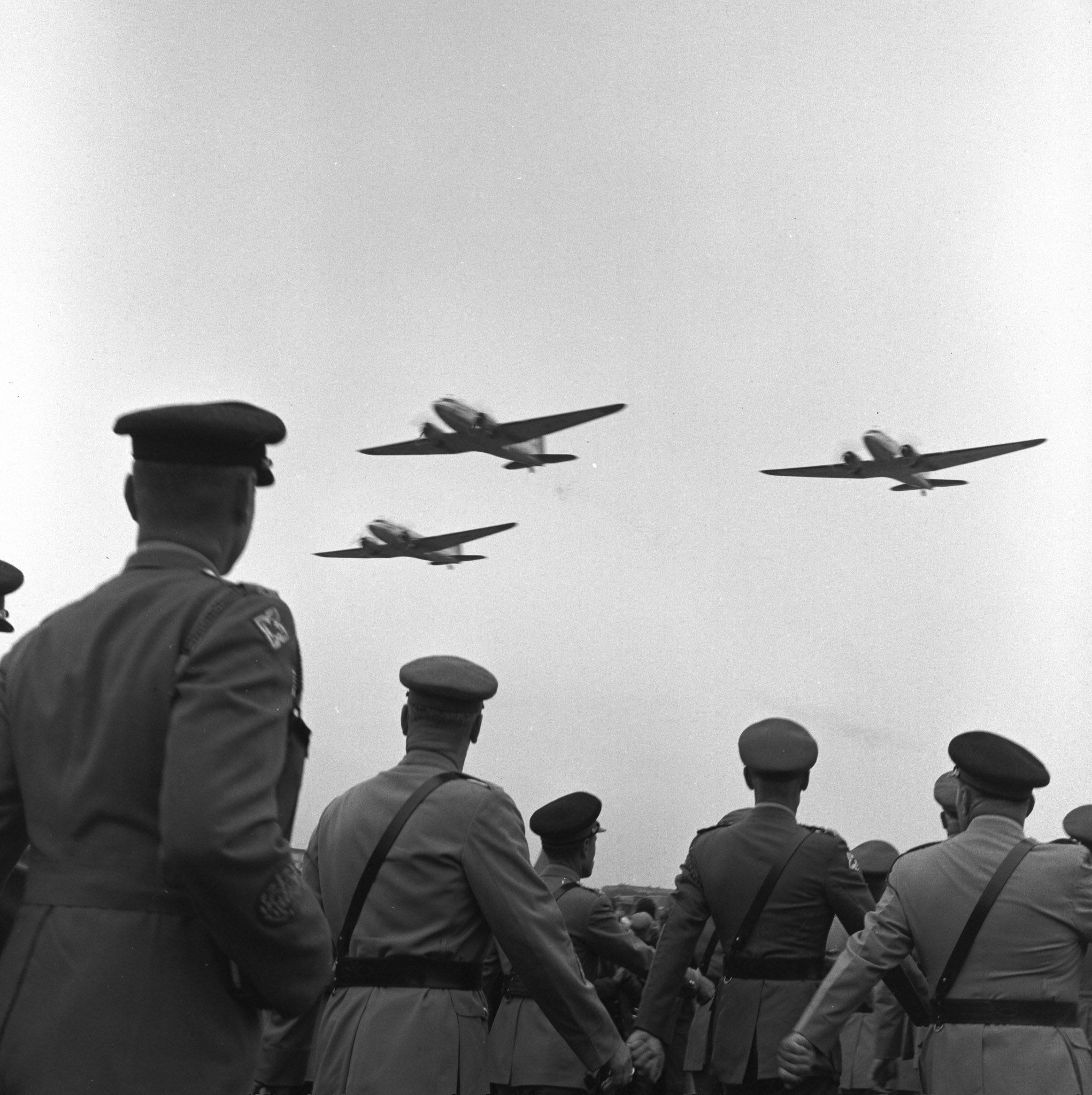 RCAF Dakota aircraft fly over Dieppe during the 25th anniversary commemoration in 1967. PHOTO: DND Archives, CF67-420-12