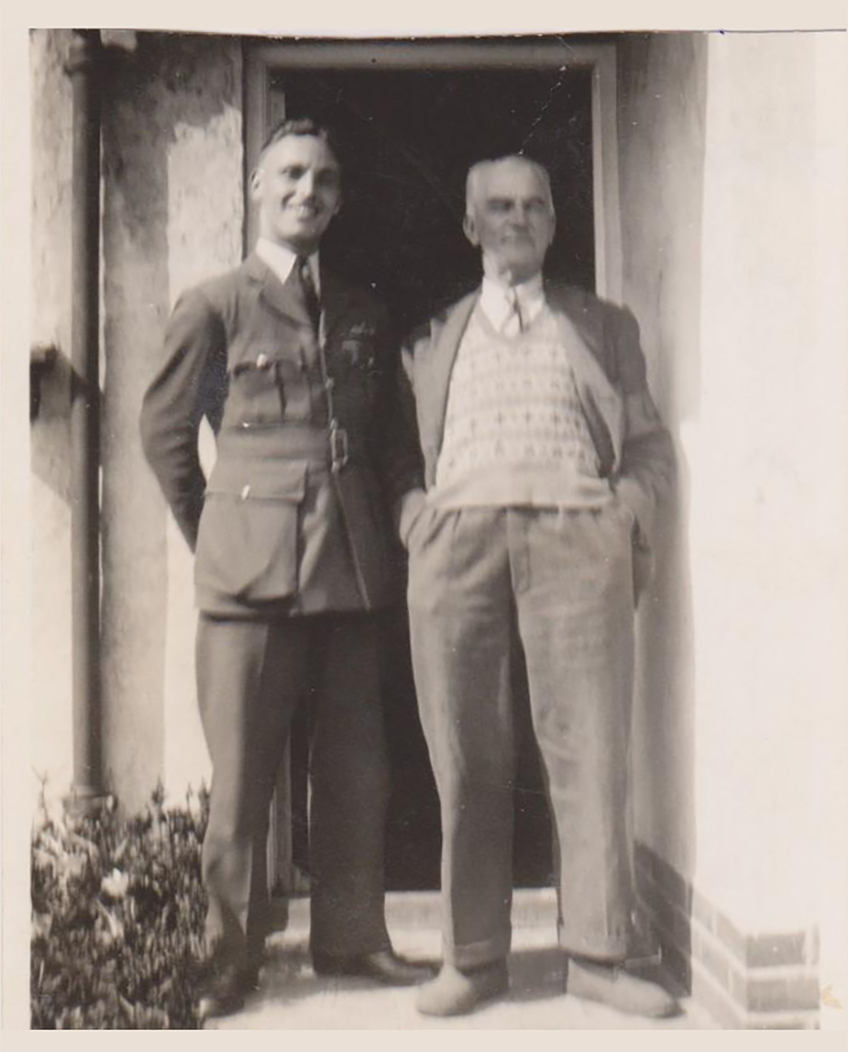 In early July 1940, Pilot Officer Dick Howley and his father enjoy a sunny day outside the house. PHOTO: Courtesy of the Howley family