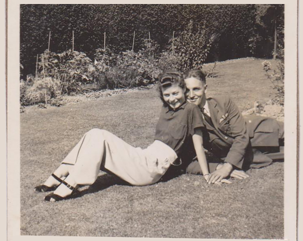 At home in Bognor Regis, Sussex, England, Pilot Officer Dick Howley relaxes in the sunshine with Mercy Bailey, his girlfriend, during leave in early July, 1940. PHOTO: Courtesy of the Howley family