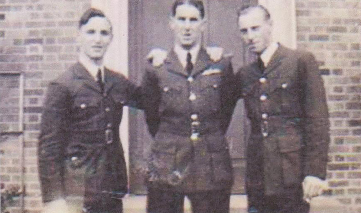 "At No. 10 Flying Training School at Tern Hill in Shropshire, England, Dick Howley (left), Eric Baker, from New Zealand, and Jack Leeds, from Ontario, were best mates known as ""The Terrible Trio"". PHOTO: Courtesy of the Howley family"