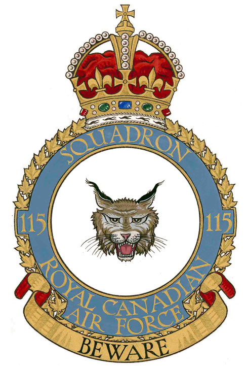 No. 15 (Fighter) Squadron (Auxiliary) was stood up in Montreal on September 1, 1934. In September 1939, Flying Officer Paul Brooks Pitcher volunteered for full-time duty with the renumbered No. 115 (Fighter) Squadron, which was absorbed by No. 1 (RCAF) Squadron just eight months later. IMAGE: Public Register of Arms, Flags and Badges