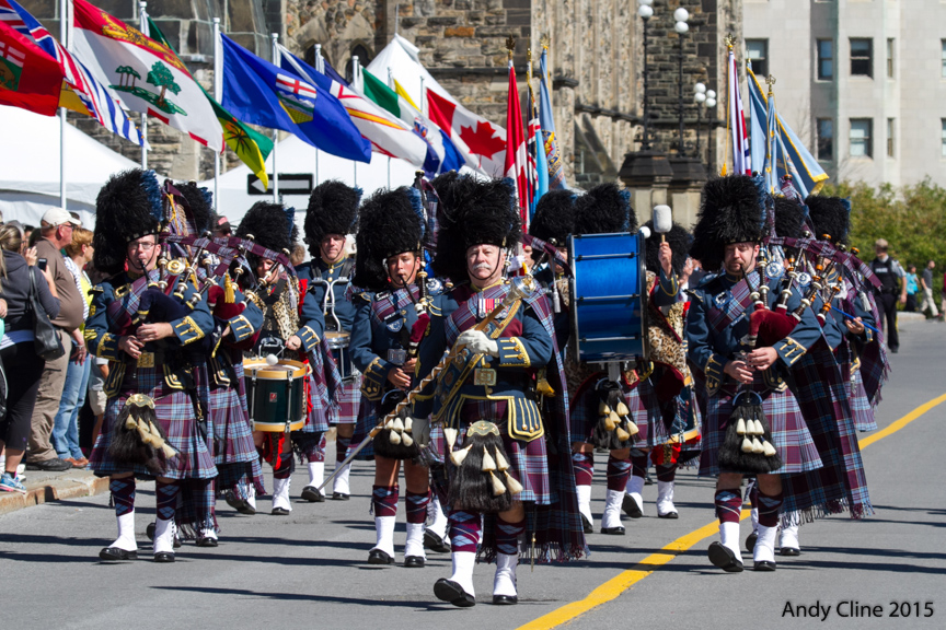 The Royal Canadian Air Force Pipes and Drums march towards Parliament Hill as the national Battle of Britain 75th anniversary ceremony begins. PHOTO: © Andy Cline, used with permission