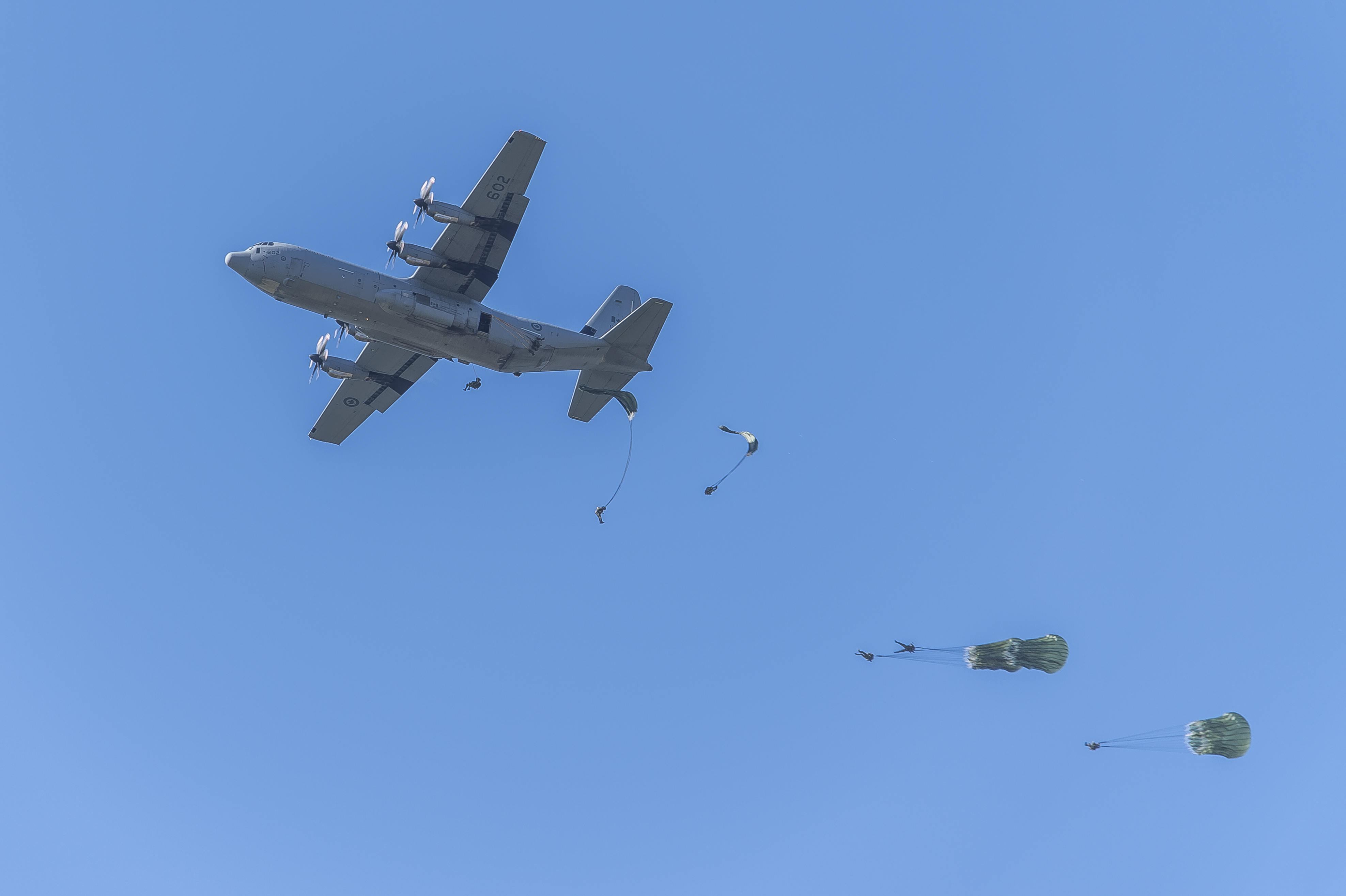 Portuguese paratroopers jump from a Canadian CC-130J Hercules aircraft on a drop zone near Tancos Airfield, Portugal.
