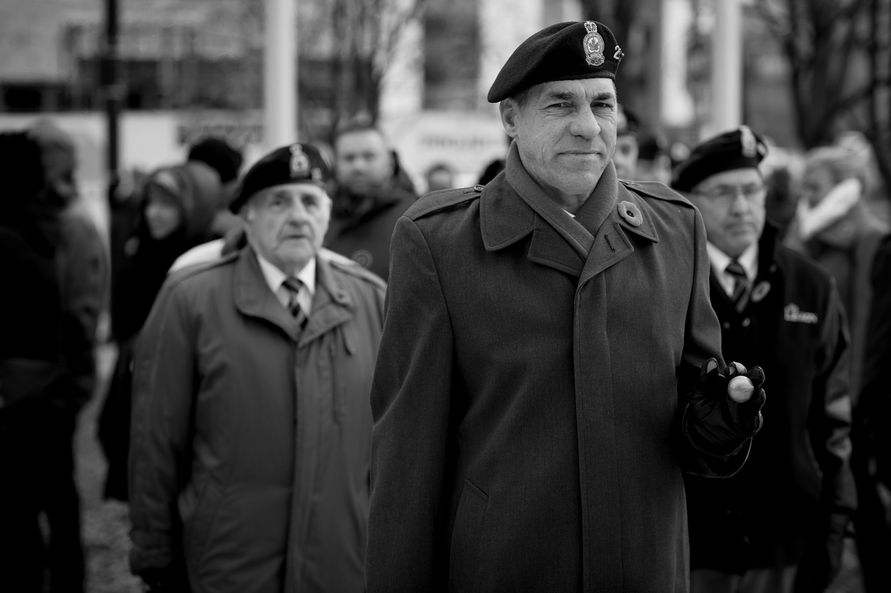 Veterans of Royal Canadian Legion Branch #235 Chicoutimi parade during the 2 Wing Bagotville, Quebec, Remembrance Day ceremony that took place November 8, 2015, in Saguenay, Quebec. PHOTO: Leading Seaman Alex Roy